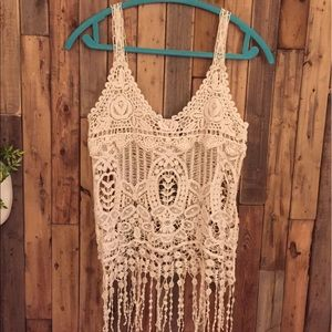 Tops - Crochet tank top with fringe detail