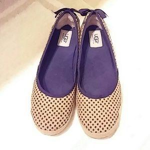 UGG Shoes - UGG tan and black polka dots flats