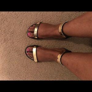 Lane Bryant Shoes - Black & Gold Gladiator Sandal
