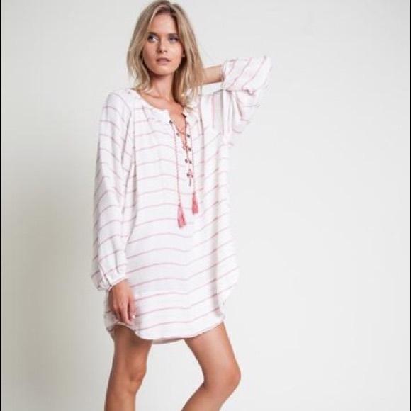 Dresses - White Striped Dress