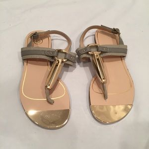 Grey and gold sandals