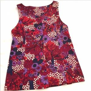 Vintage Sleeveless Floral Top Button Front OOAK