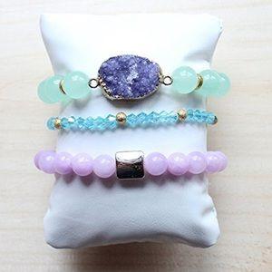 Pastel stretchy gemstone bracelet stack Druzy