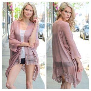 SoChic Sweaters - Just In❤ Dusty Rose Lace Trim Kimono