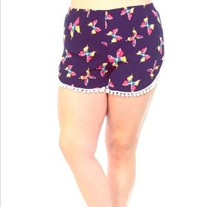Bellino Clothing Pants - Plus butterfly shorts