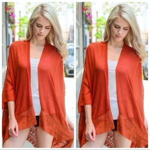 SoChic Sweaters - Just In❤ Rust Lace Trim Kimono