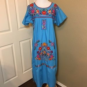 angelica Dresses & Skirts - Puebla embroidered floral blue cotton dress large