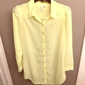 Frenchi Tops - Yellow Button-down Sheer Blouse