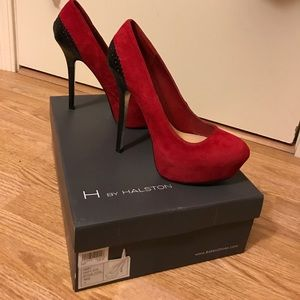 H by Halston Shoes - H By Halston Abby Red & Black Classy Heels