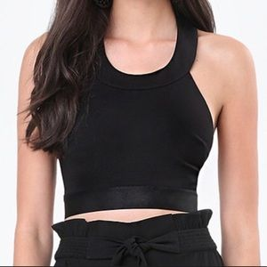 Bebe Crop Top open back Sz Large Nwt