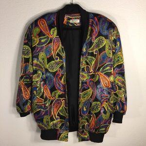 Vintage Jackets & Blazers - Vintage Paisley 70s Retro Silky Jacket - Sz Large