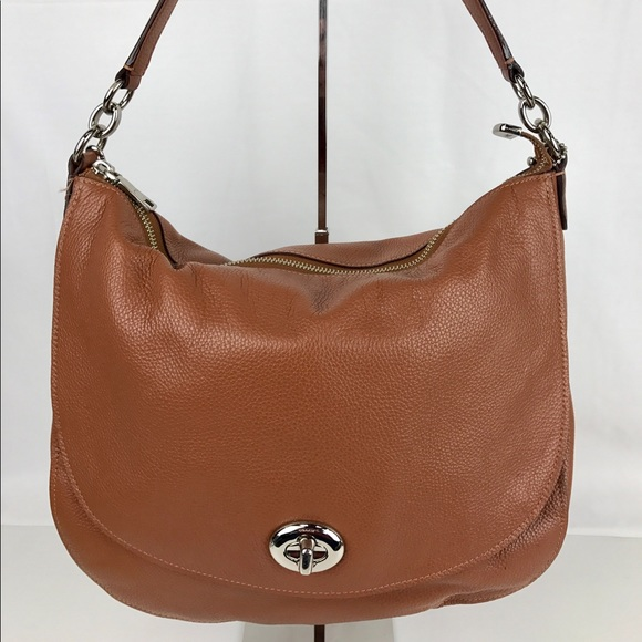 Coach Turnlock Hobo in Brown Pebble Leather 635eb6c2a850d