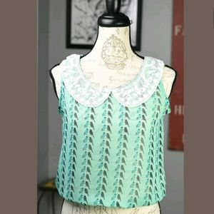 Poof! Tops - POOF! Bird Print Open Back Blouse Small