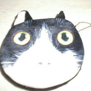 Handbags - Cute Black & White Cat Coin Purse Key chain