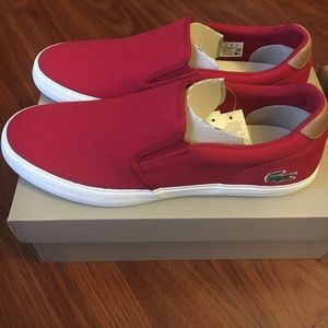 Lacoste Other - Lacoste red slip ons