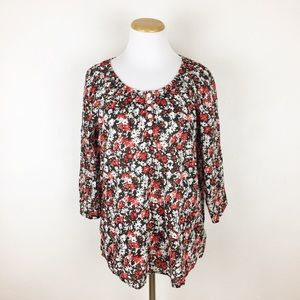 Foxcroft Tops - Foxcroft Floral Peasant Top