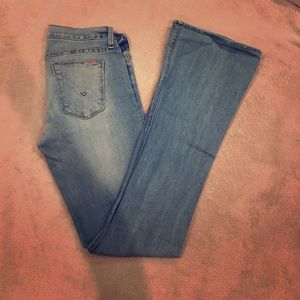 Light wash distressed Hudson jeans, hemmed