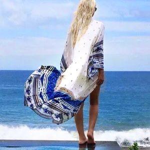 Thunderbird MAXI Kimono COVERUP Robe Blue White