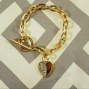 Michael Kors Jewelry - Michael Kors 18K Yellow Gold Heart Toggle Braclet