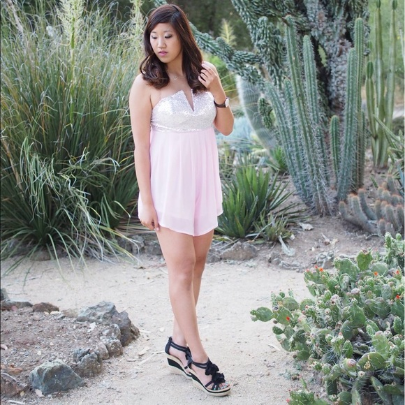 Dresses & Skirts - [LIKE NEW]: Strapless Sequined Light Pink Romper