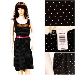 Torrid Black White Polka Dot Retro Plus Size Dress