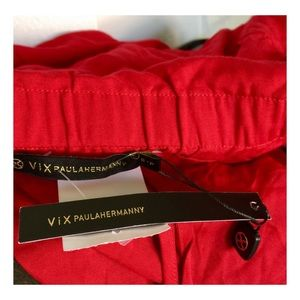 Vix Tops - VIX Red Rayon Bathing Suit Coverup Strapless Top
