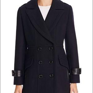 Trina Turk Jackets & Blazers - NWT Trina Turk Chloe Leather Trim Black Pea Coat