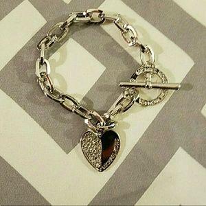 Michael Kors Jewelry - Michael Kors 18K White Gold Heart Toggle Bracelet