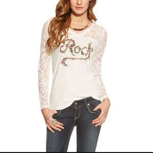 Ariat Tops - Ariat White Long Sleeve T-shirt w/ Lace