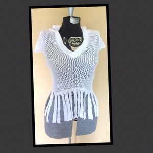 Liv Tops - White Knit netting cotton hoodie fringed top xs