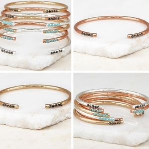 •crystal studded stacking bangles•