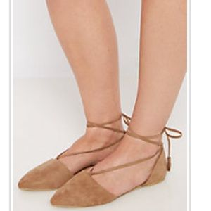 Shoes - 🆕Taupe tassel tie lace up ballet flats