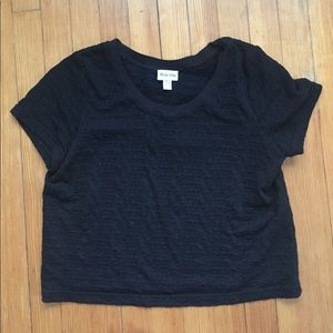 Urban Outfitters Tops - Urban Outfitters Textured Black Crop Tshirt L