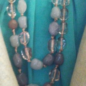 Aqua Beaded Double Strand Necklace