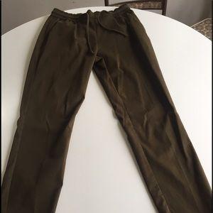 Zara army green drawstring ankle pants Sz M