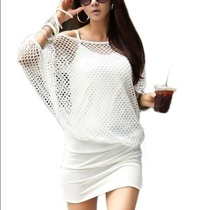 Curvy Couture Dresses & Skirts - White Net Spandex Mini Dress NWT