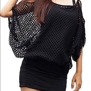 Curvy Couture Dresses & Skirts - Black Net Spandex Mini Dress NWT