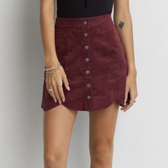 8aab72875 American Eagle Outfitters Dresses & Skirts - AEO Faux Suede Snap Front  Scalloped Mini Skirt