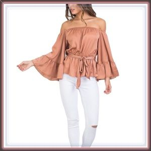 Tops - 🆕 Off The Shoulder Bell Sleeve Waist Tie Blouse