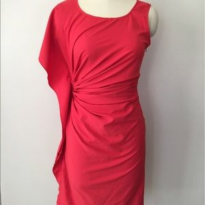 Ya Los Angeles Red Ruched Cocktail Dress NWT