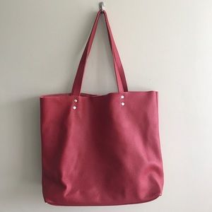 New Red Leather Tote Bag Shopper Handbag