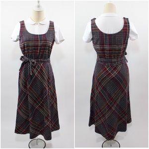 1970's Wool Tartan Plaid Jumper Dress