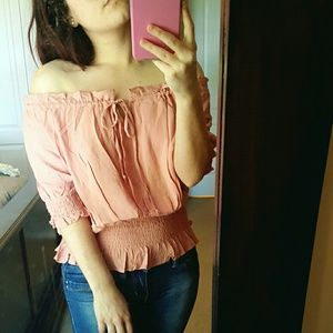 Tops - Off The Shoulder Mauve Top