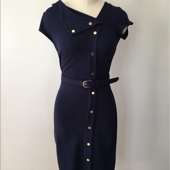 Cache Coeur Dresses & Skirts - Cache Navy Belted Dress