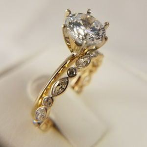 14k Solid Gold Engagement Ring & Band