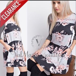 CLEARANCE GORGEOUS FLORAL STRIPED DRESS