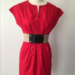 Ann Taylor Petite Red Belted Dress with Pockets