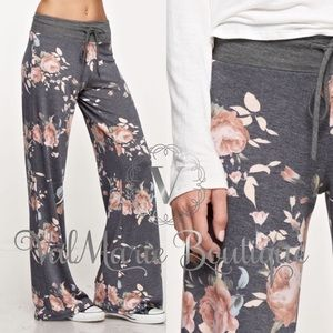 Grey and Peach Floral Lounge Pants