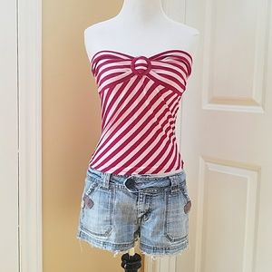 NWOT Pink striped strapless top!