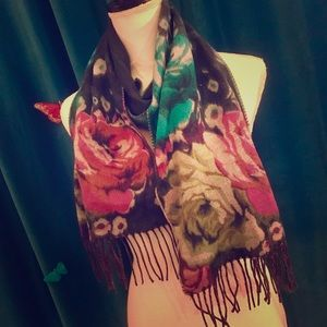 MERONA Watercolor Floral Print Flannel Knit Scarf